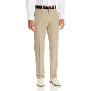 Haggar Mens Straight Fit Plain Front Pants Khaki